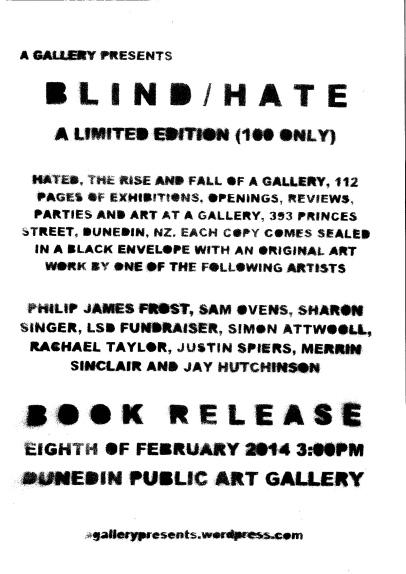 B L I N D / H A T E Book Release 3pm 8/2/14