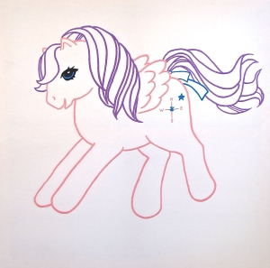 My Little Pony 2014, hand-embroidery, 1375 x 1375mm, Polyester thread on Cotton Drill