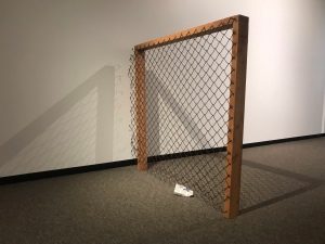 'Rusty wire fence and a Jimmy's mince and cheese pie', Hand-embroidery on printed cotton drill, rusty fence...